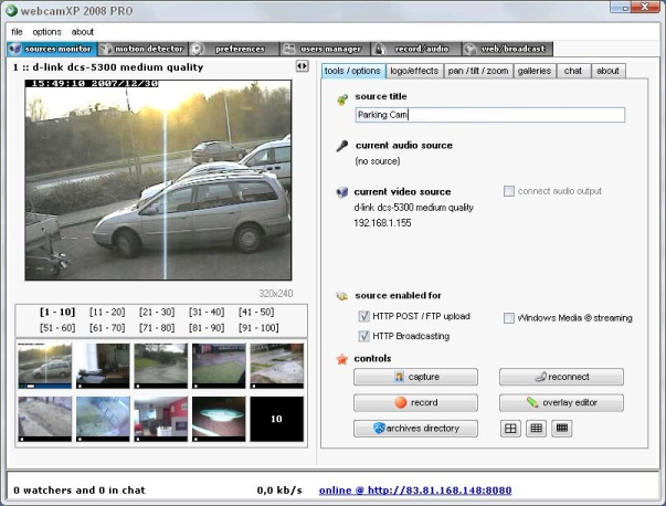Webcam XP source Monitor Tabblad